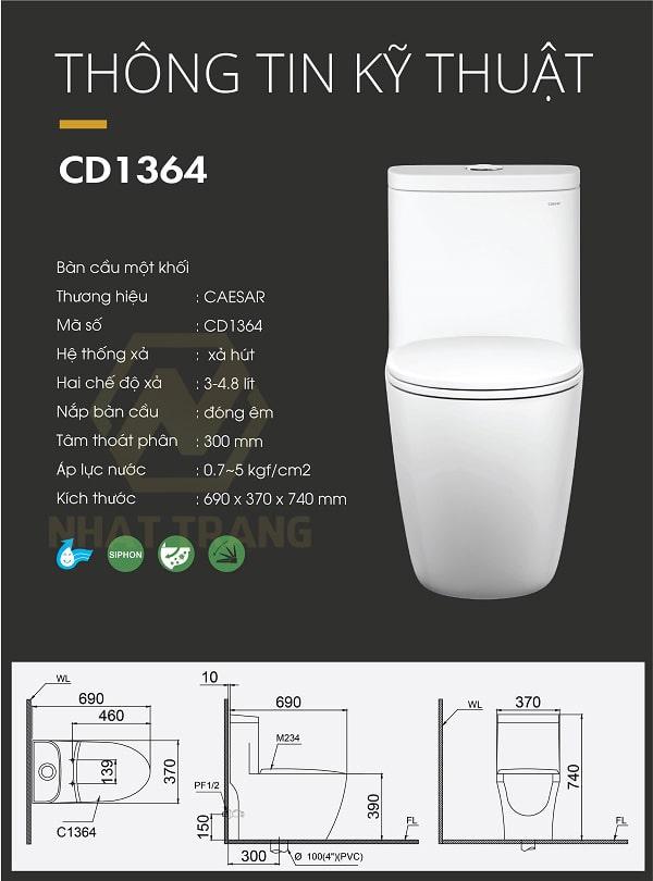 bồn cầu Caesar C1364